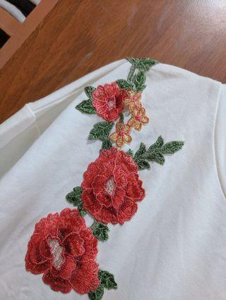 Embroidered Floral Casual Top/ T shirt