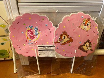 全新 日本迪士尼樂園奇奇蒂蒂2017年夏日祭典扇子