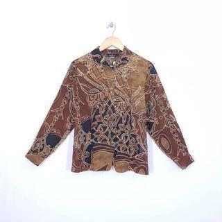 K905 Size LL Atasan Blus Kemeja Batik Wanita Chiffon JAPAN Import