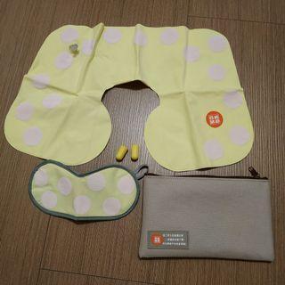 旅行組 吹氣頸枕+眼罩+耳塞+收納袋
