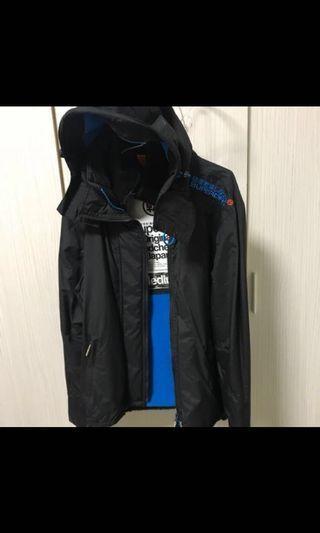 Superdry 防潑水防風外套 藍色M號