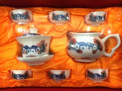 White Ceramic Painted Tea Set