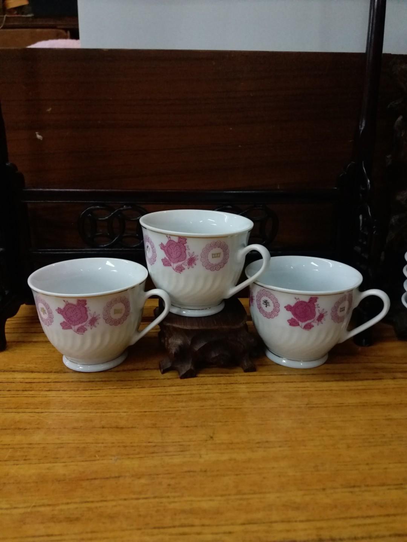 70年代 中國醴陵 四季豐收 執耳杯3隻