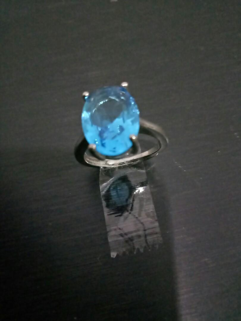 925 Silver Blue Crystal Sparkling Ring