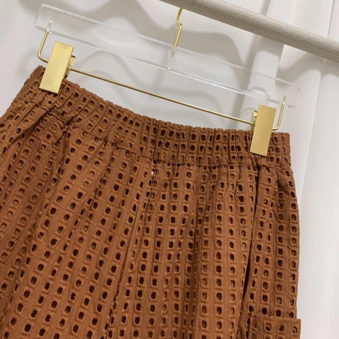 裸空布八分雙側口袋寬褲