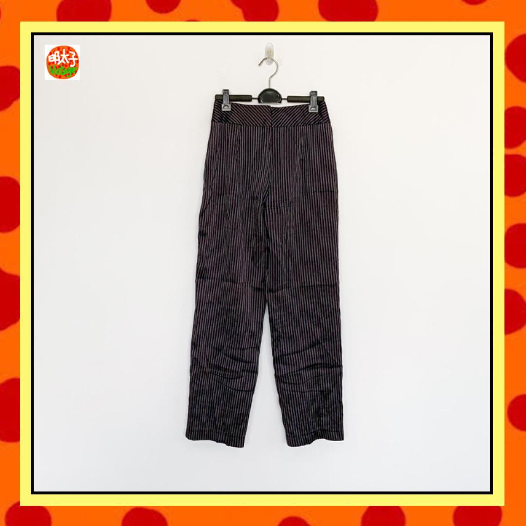二手 紫黑色 條紋 微彈性 中腰 長褲 明太子 B1008