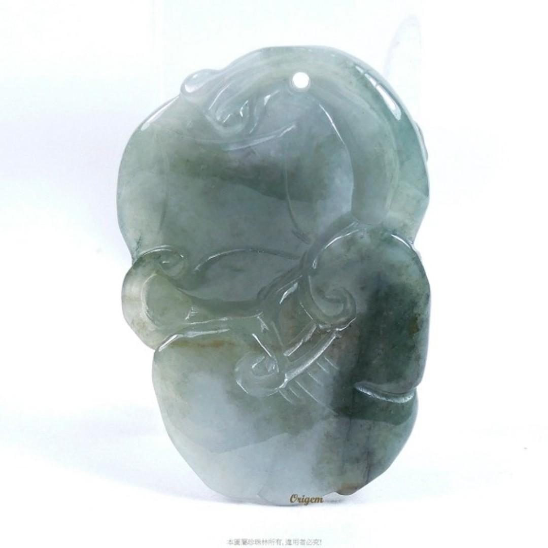 珍珠林~新品到.老師傅精雕.A貨緬甸翡翠美玉~靈芝仙猴送財來#219