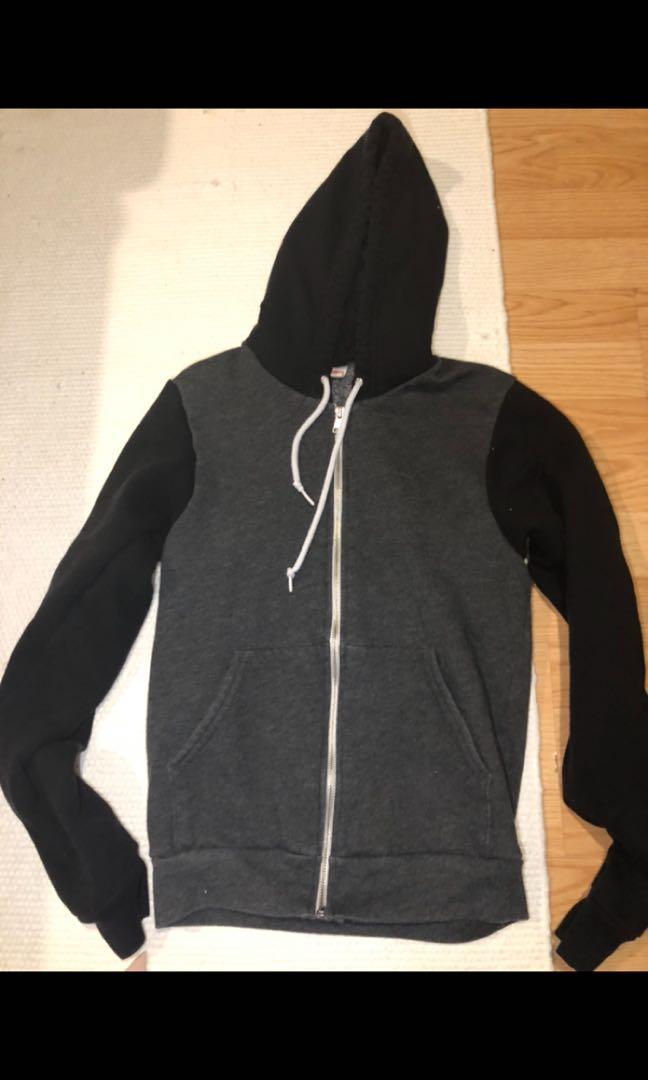 American apparel unisex zip up hoodie sweater size xs