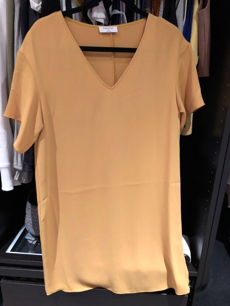 Aritzia babaton Aaron tshirt dress mustard yellow xsmall