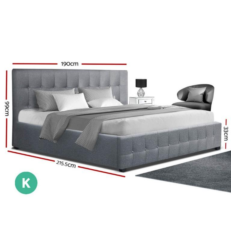 Artiss ROCA King Size Gas Lift Bed Frame Base With Storage Mattress Grey Fabric