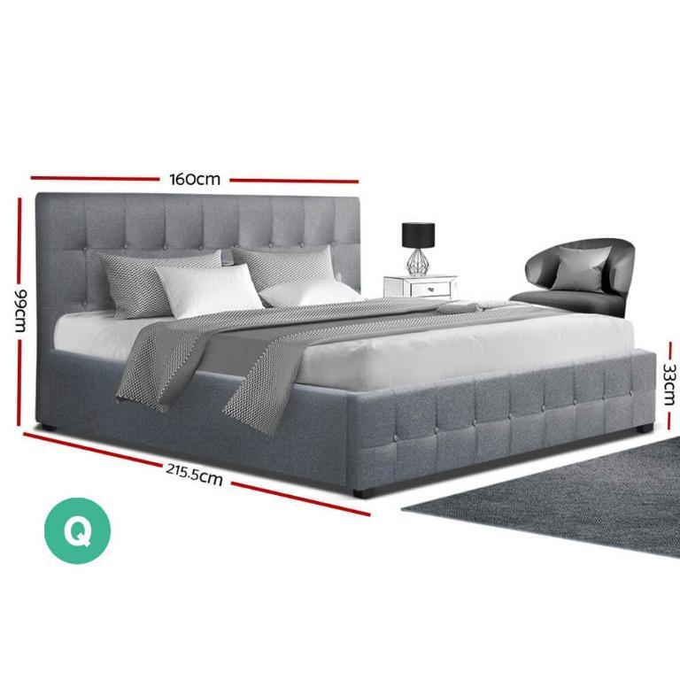 Artiss ROCA Queen Size Gas Lift Bed Frame Base With Storage Mattress Grey Fabric