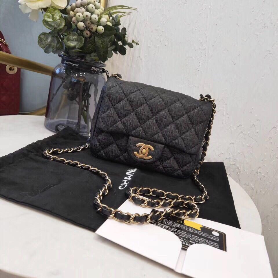 Authentic Brand New Chanel Black Caviar Leather Square Mini