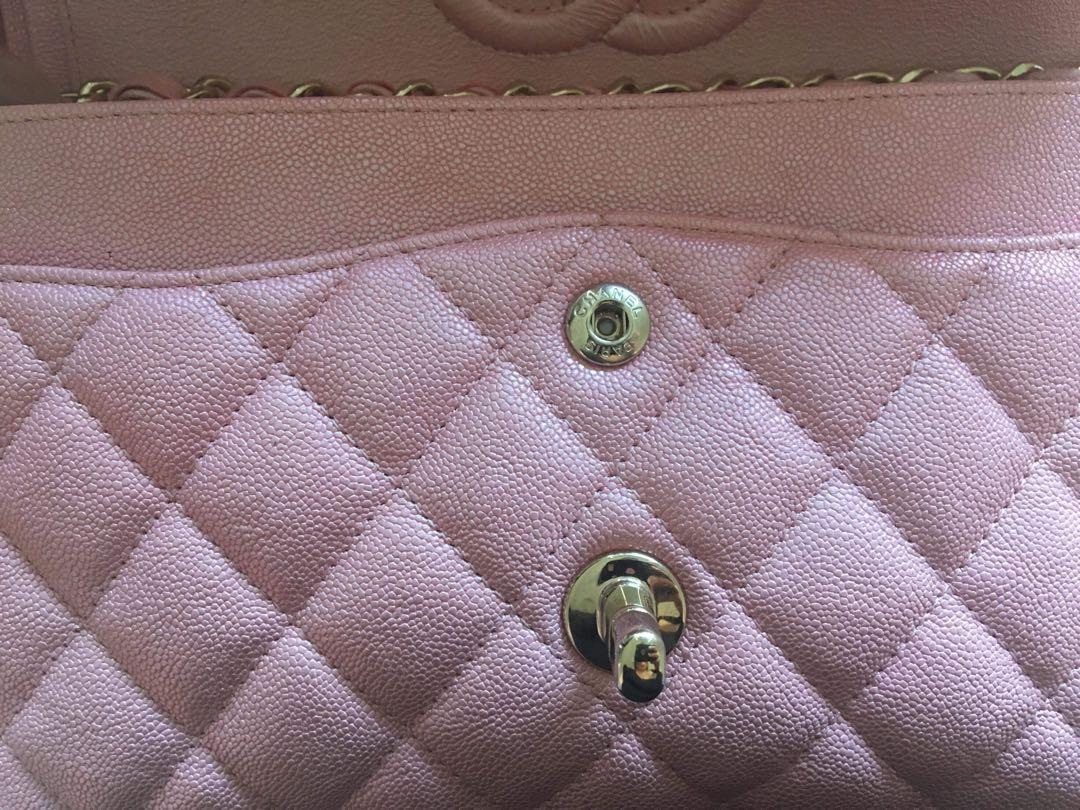Authentic Chanel Iridescent Pink 19s RARE SMALL Classic Flap