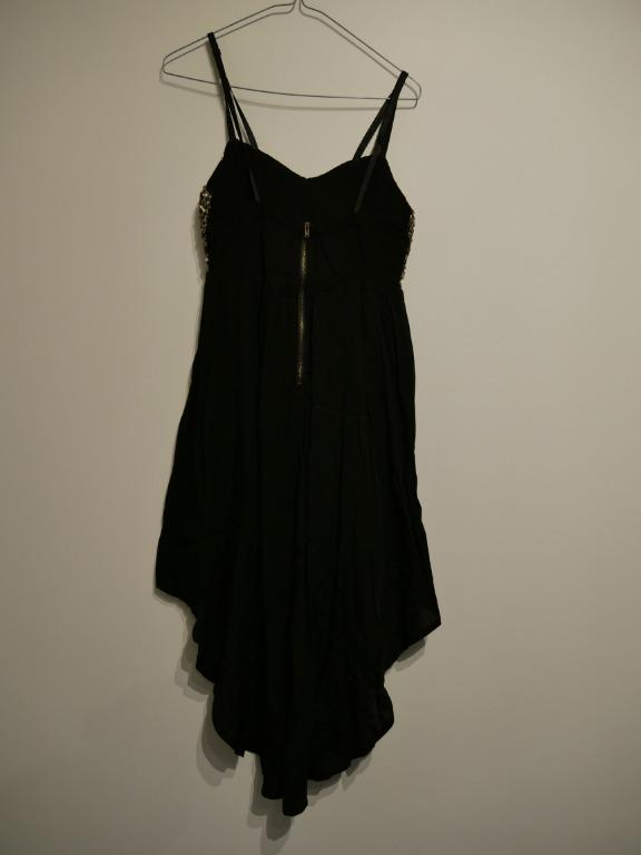Black Dress with Longer Tail and Gold Sequinned Top Size S