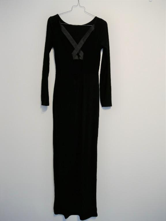 Black Long Sleeved Dress with High Split and Criss-Cross Open Back S8