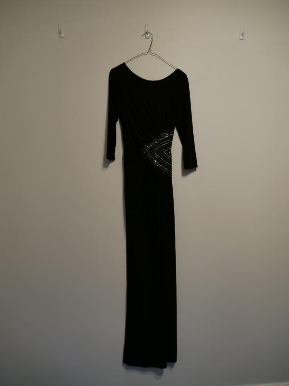 Black Long-Sleeve Black Dress with Diamontes Size S