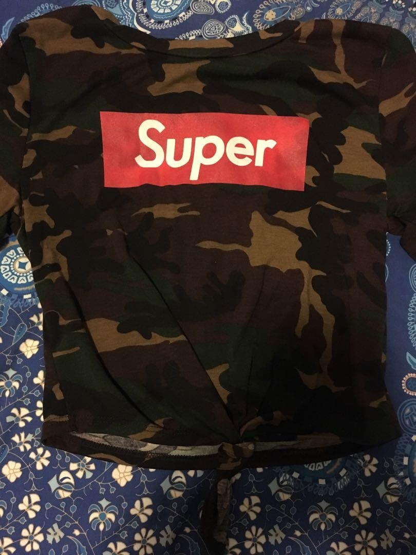 Bnwot Fashion Nova Super Army Camo Tie Up Top Size M
