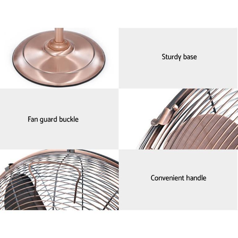 Devanti Metal Pedestal Fan Vintage Portable Fans Oscillating Tilt Chrome 3 Speed Copper