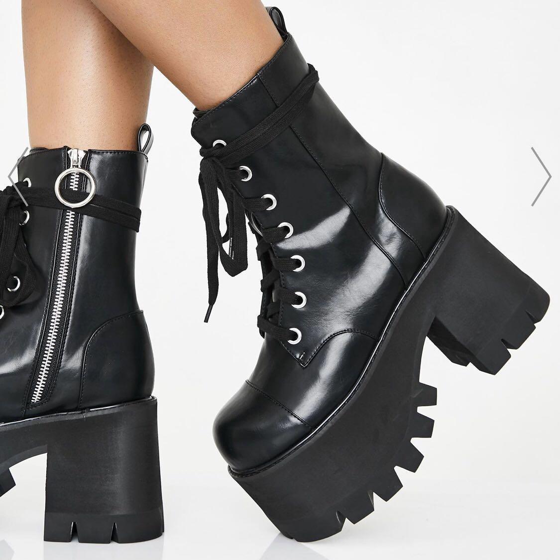 Dollskill Chunky Platform Boots (Black