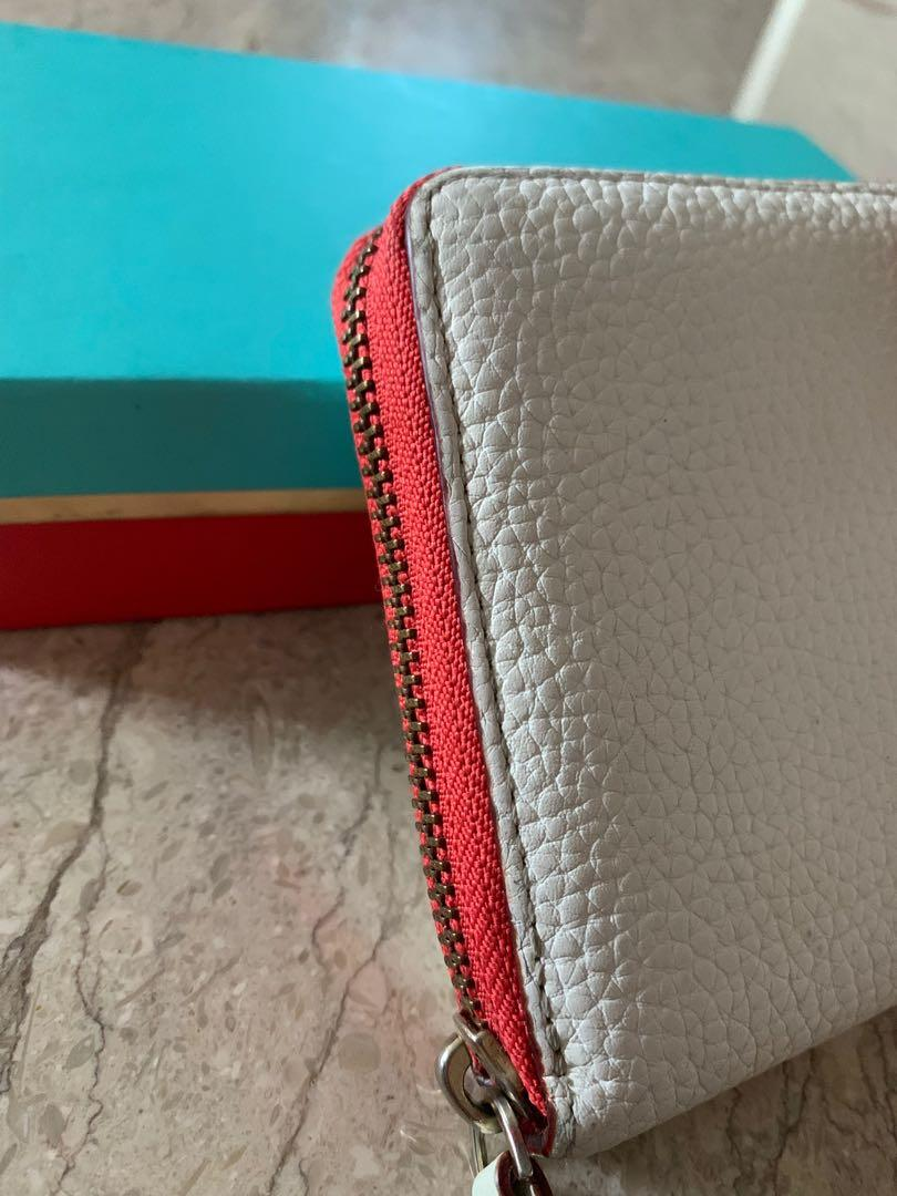 Kate Spade White Leather Wallet with Red Trimmings