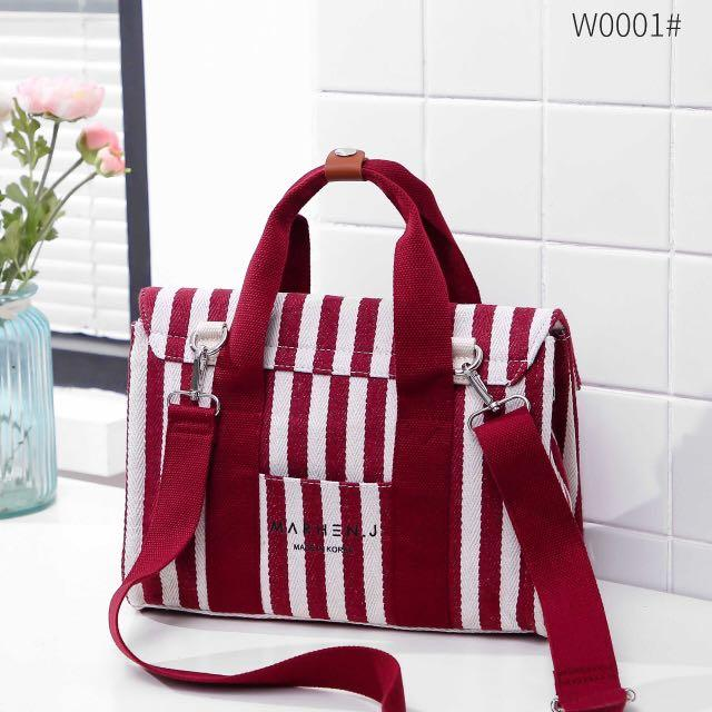 NEW BEST SELLER  Top Best Seller Product 👍🏼👍🏼👍🏼 *MARHEN J ROY STRIPES CANVAS TOTE BAG SET POUCH WB  W0001*