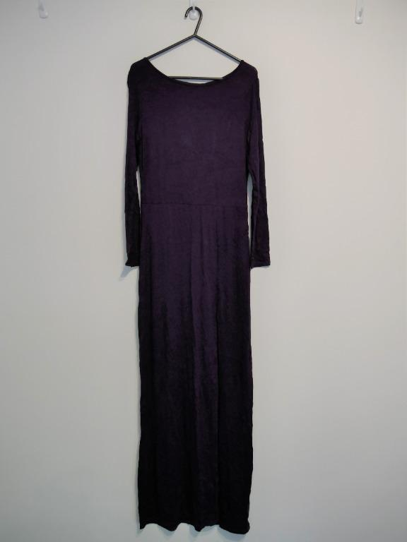 New Missguided Long Sleeve Long Purple Dress with Right Slit Size S