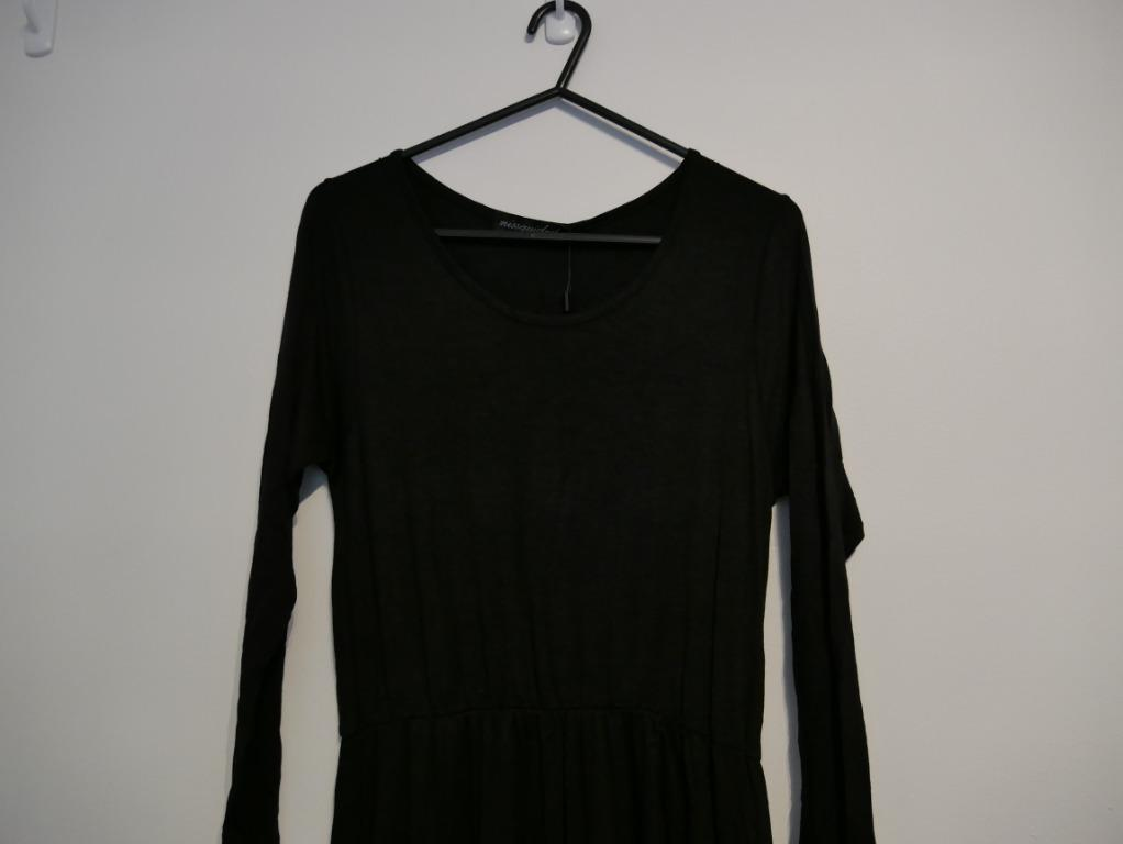 New Missguided Long Sleeve Long Dress with 2 Front Slits Size S