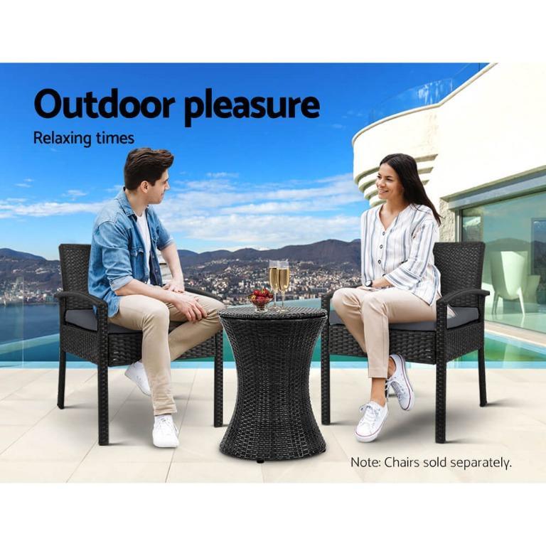 Outdoor Patio Pool Cooler Ice Bucket Rattan Bar Coffee Table Black