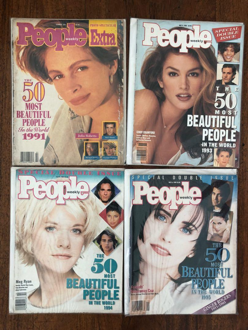 People Weekly The 50 Most Beautiful People in the World 1991 to 1995 (Julia Roberts, Cindy Crawford, Meg Ryan, Courtney Cox)