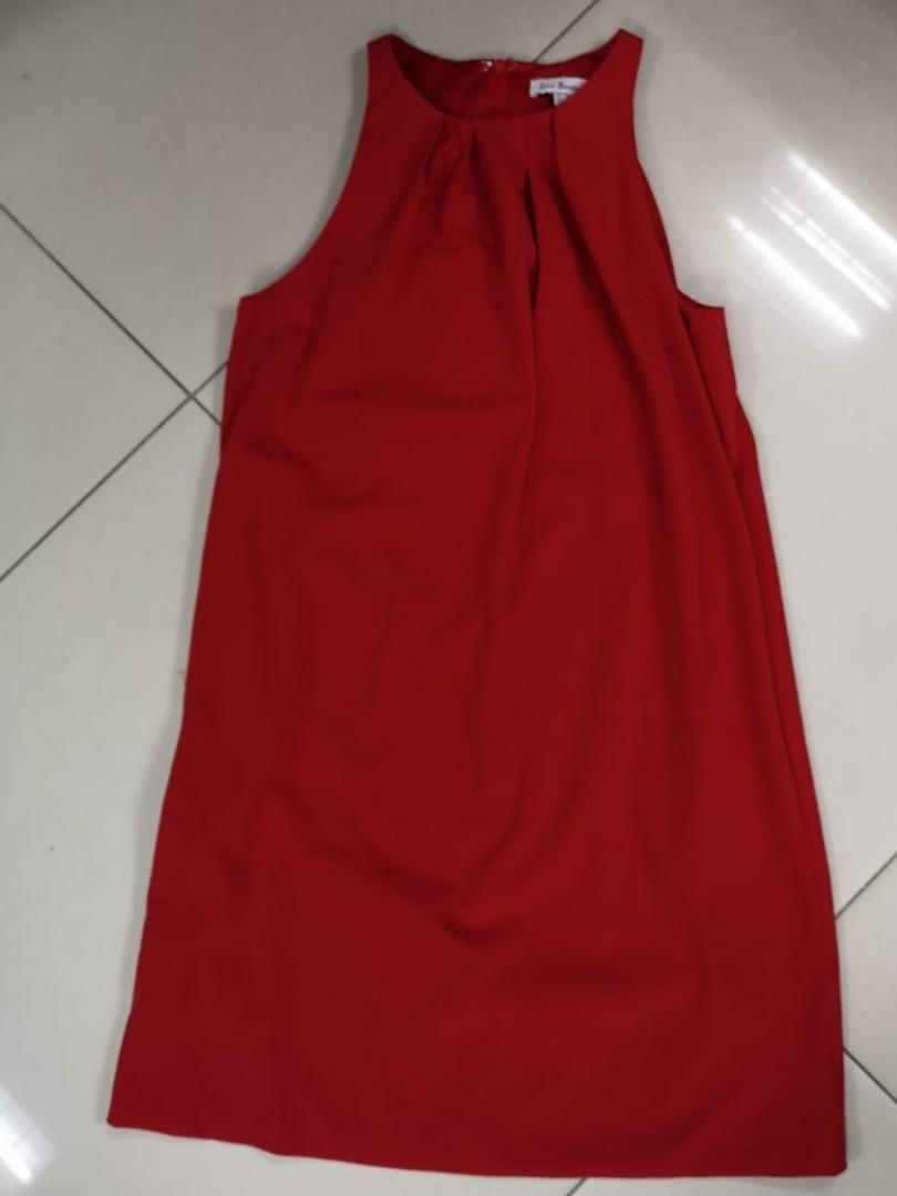 Preloved Women Ladies Red Sleeveless Dress (Used) S