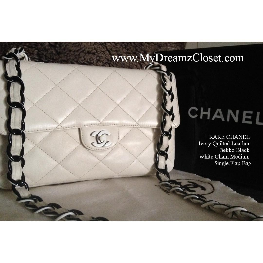RARE CHANEL Ivory Quilted Leather Bekko Black White Chain Medium Single Flap Bag