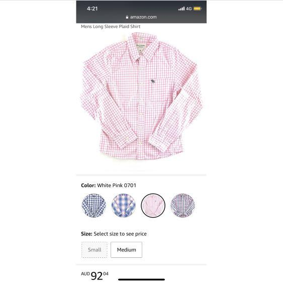(S) Abercrombie & Fitch Mens Long Sleeve Plaid Shirt