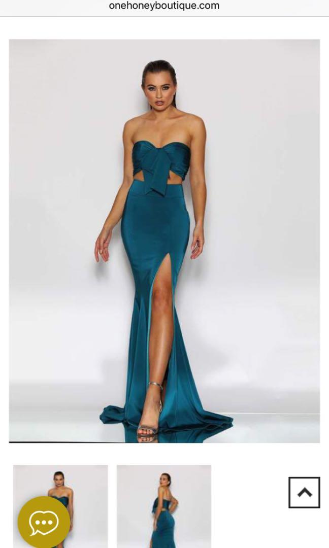Teal Tie up Two Piece Set Formal Dress from Jadore