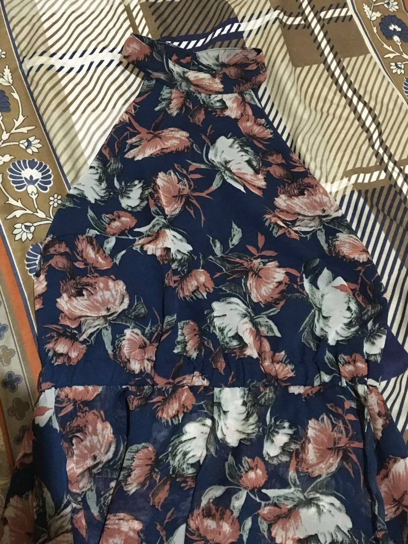 THE EDITOR'S MARKET Navy Blue Floral Jumpsuit