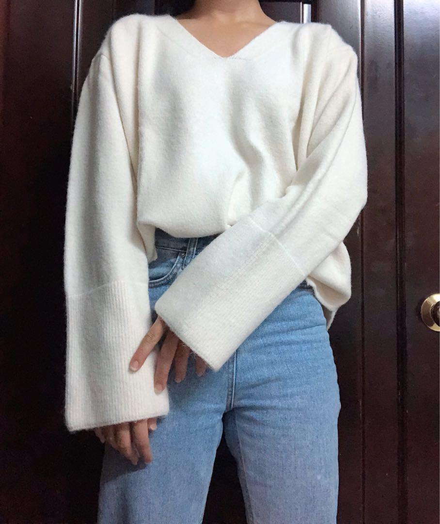 V領反折毛衣