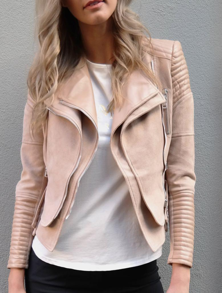 Vegan Leather Suedette Nude Bessy Biker Jacket size 10