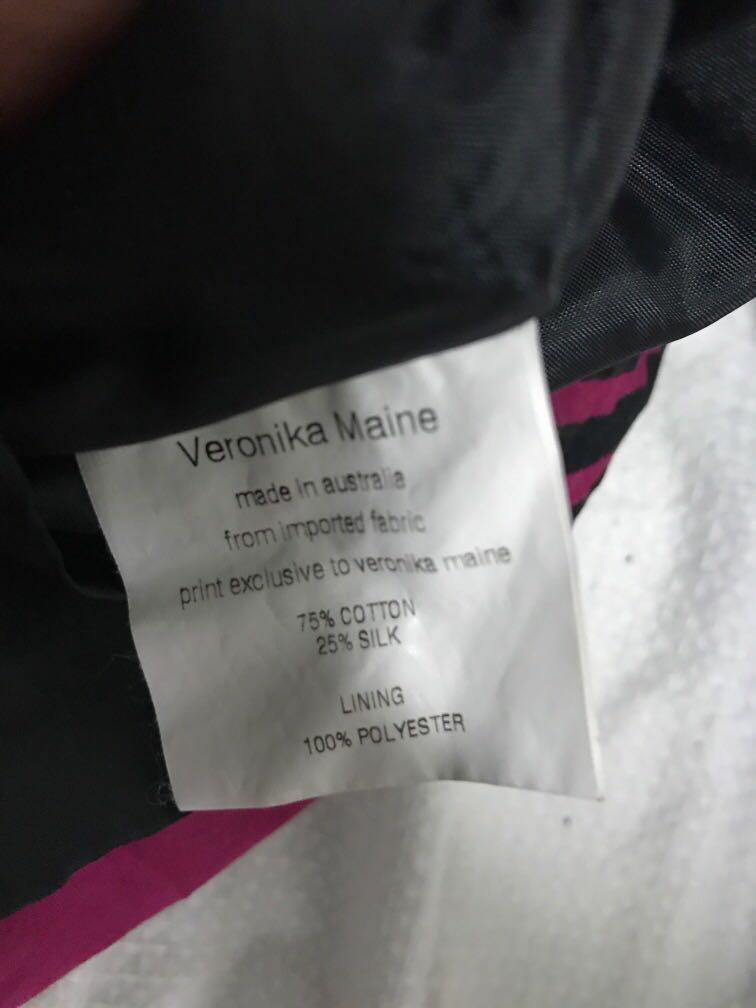 Veronica Maine silk cotton pink patterned midi skirt