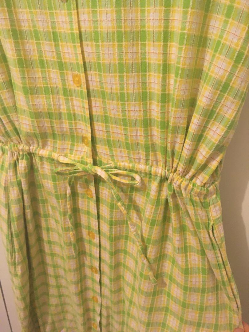 Vintage green plaid dress