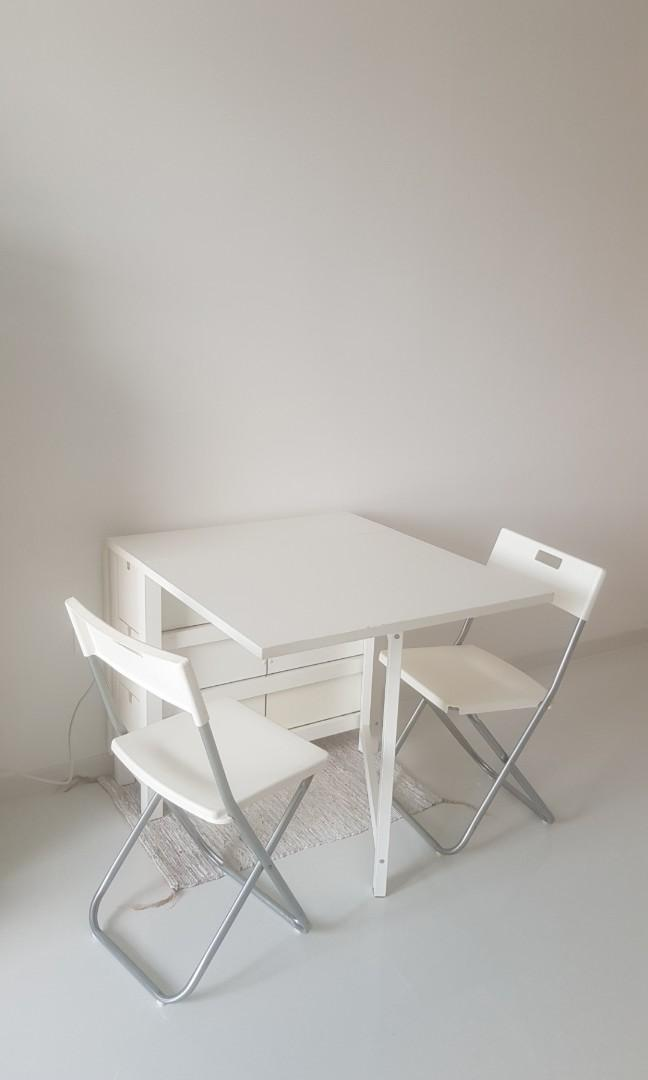 White Ikea Dining Table Chair Set Furniture Tables Chairs On Carousell