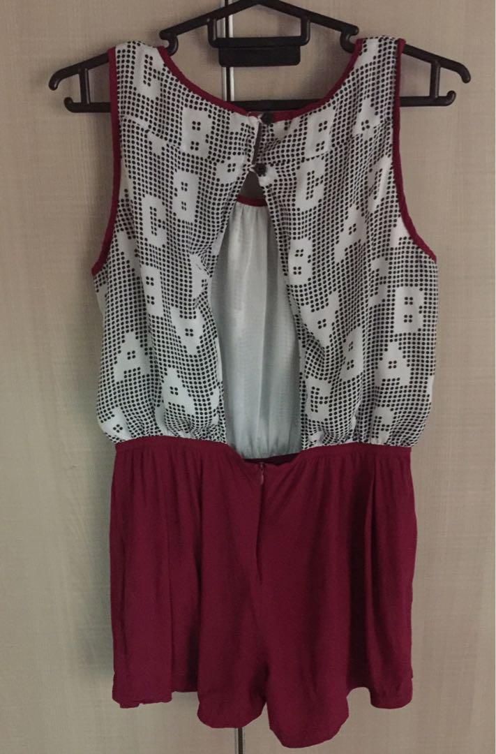 White Maroon Coloured Jumpsuit Beach Party
