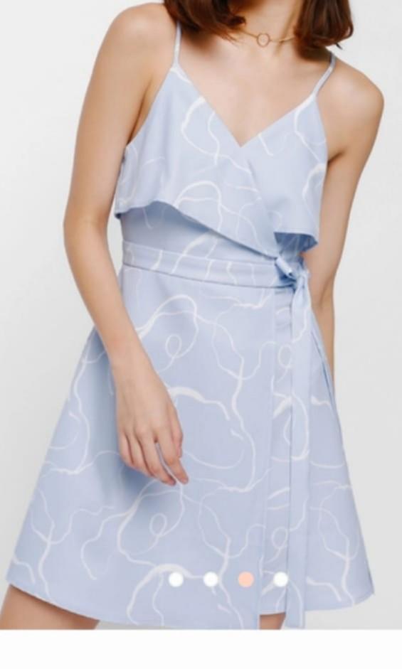 Women Ladies Light Blue Dress (Xs)