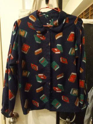 棉質學院風印花襯衫