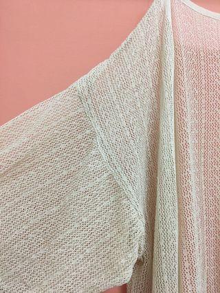 [全新] 復古 罩衫 慵懶 法式 雕花 簍空 杏色 針織衫 防曬 可內搭 一字領 平口