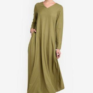 Markdown!! Reduced!!TSyahmi fo Zalora Maxi Dress (Olive)