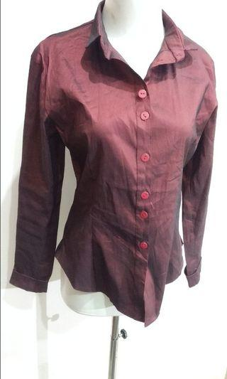 Super Quality Kemeja Merah Marun Maroon Red Shirt Formal