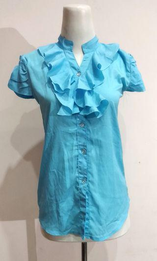 Blue Ruffle Shirt Blouse Atasan Biru Formal