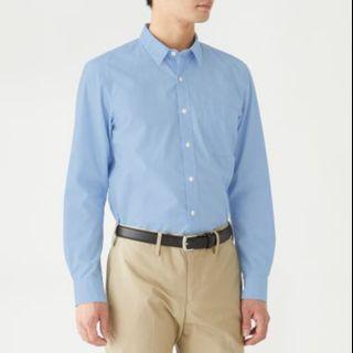 muji 無印良品  新疆棉水洗平織布襯衫 天空藍 M號