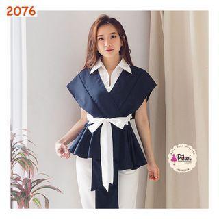 Kimono blouse v neck / atasan wanita modern / blouse kantor wrap ikat / 2076