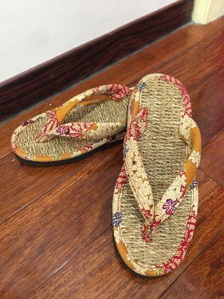 日本純草編夾腳拖鞋(日本帶回)