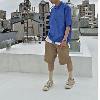 【二手】YU SELECT-優選 monkey time M號 深藍色寬版壓釦襯衫